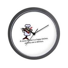 A Messy Kitchen Wall Clock
