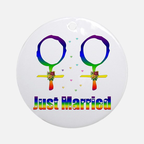 Just Married Lesbians Ornament (Round)