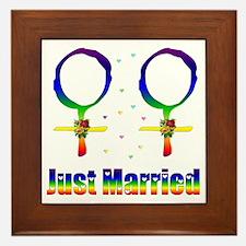 Just Married Lesbians Framed Tile