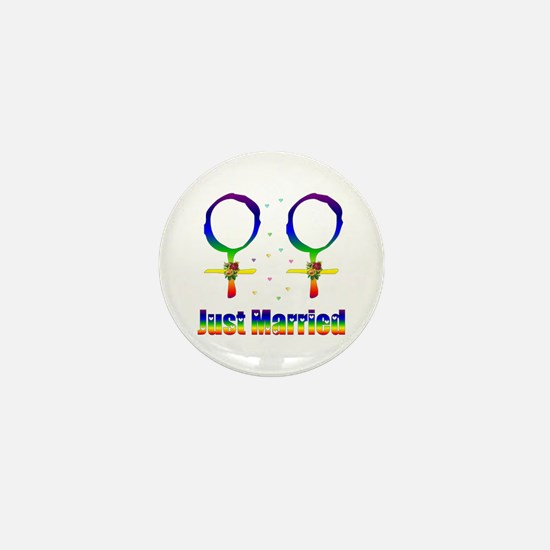 Just Married Lesbians Mini Button