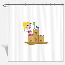 Sand Castle Girl Shower Curtain
