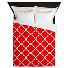 Pure red quatrefoil pattern Queen Duvet