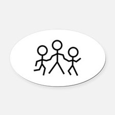 Stick People Oval Car Magnet