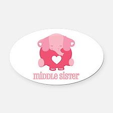 Middle Sister Elephant Oval Car Magnet
