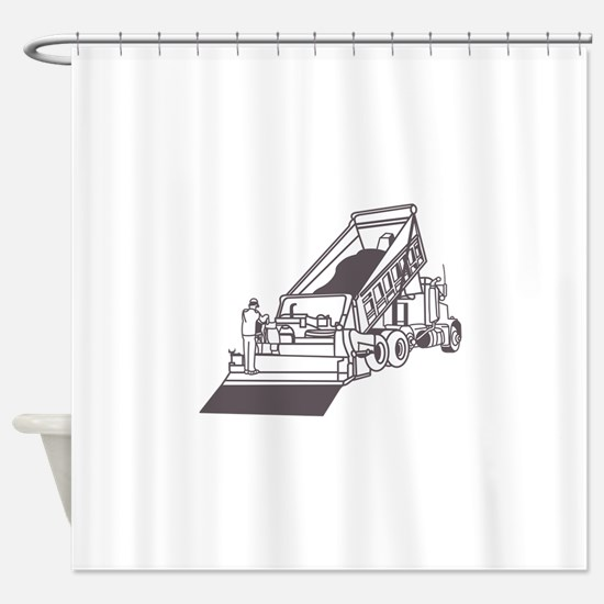 Paving Truck Outline Shower Curtain