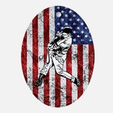 Baseball Player On American Flag Oval Ornament