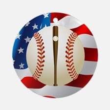 Baseball Ball On American Flag Round Ornament