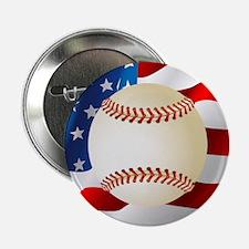 """Baseball Ball On American Flag 2.25"""" Button"""