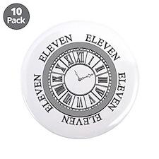 """Eleven Eleven Roman Clock 3.5"""" Button (10 Pac"""