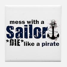 Mess with a Sailor Tile Coaster
