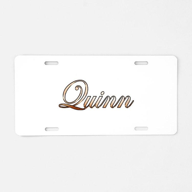 Gold Quinn Aluminum License Plate