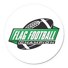 Flag Football Champion Round Car Magnet