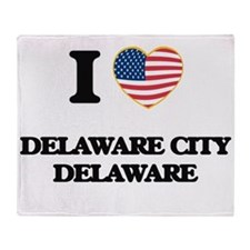 I love Delaware City Delaware Throw Blanket