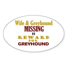 Wife & Greyhound Missing Oval Decal