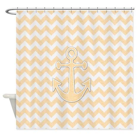 Tan Anchor Chevron Shower Curtain By 3QuarterDesigns