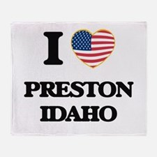 I love Preston Idaho Throw Blanket