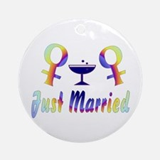 Just Married Women Ornament (Round)