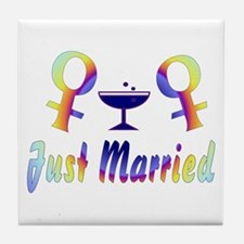 Just Married Women Tile Coaster