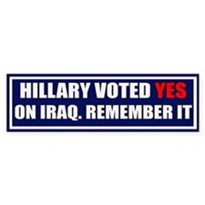 NO Hillary Bumper Bumper Sticker