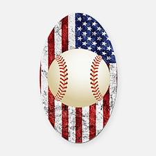 Baseball Ball On American Flag Oval Car Magnet