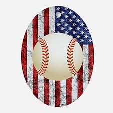 Baseball Ball On American Flag Oval Ornament