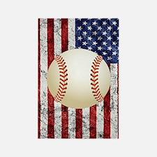 Baseball Ball On American Flag Rectangle Magnet