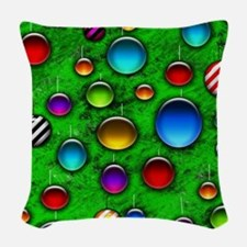 Colorful Glass Orbs Christmas  Woven Throw Pillow