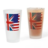 Union jack american flag Pint Glasses