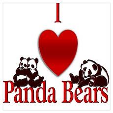 I Heart Panda Bears Poster