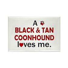A Black & Tan Coonhound Loves Me Rectangle Magnet