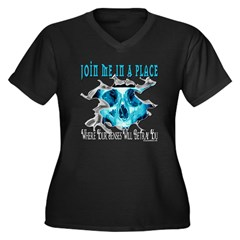 Join Me In A Place Women's Plus Size V-Neck Dark T