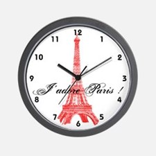 Eiffel Tower J'adore Paris Wall Clock
