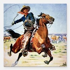 "cowboy art Square Car Magnet 3"" x 3"""