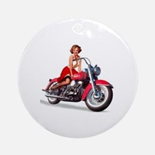 pinup on a motorcycle Round Ornament