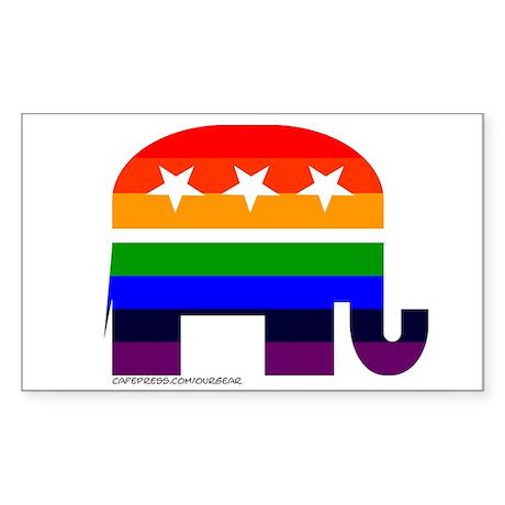 GOP Rainbow Elephant Rectangle Sticker