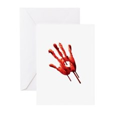 Bloody Hand Print Greeting Cards