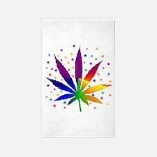 Rainbows and Stars Marijuana Area Rug
