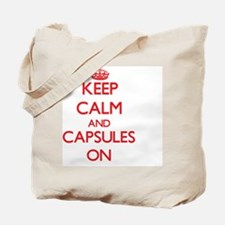 Keep Calm and Capsules ON Tote Bag