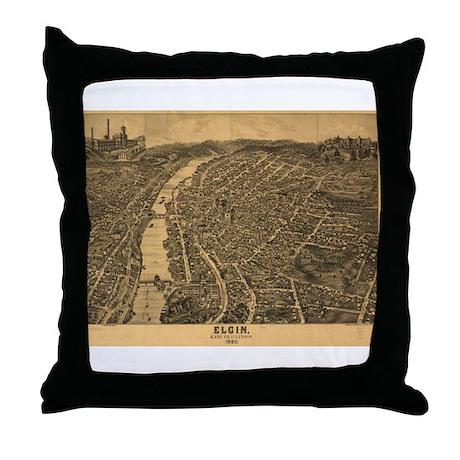 Elgin, Illinois 1880 Throw Pillow