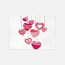 PINK HEARTS 5'x7'Area Rug