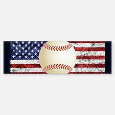 Baseball Ball On American Flag Bumper Bumper Bumper Sticker