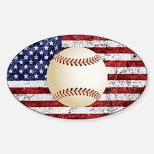 Baseball Ball On American Flag Decal