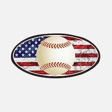 Baseball Ball On American Flag Patch