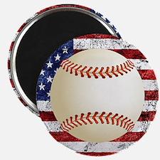 Baseball Ball On American Flag Magnets