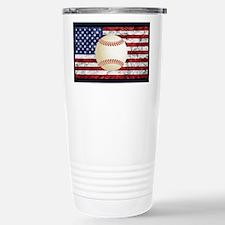 Baseball Ball On American Flag Travel Mug