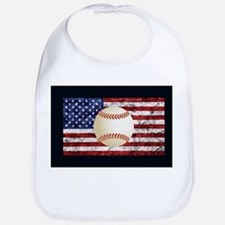 Baseball Ball On American Flag Bib