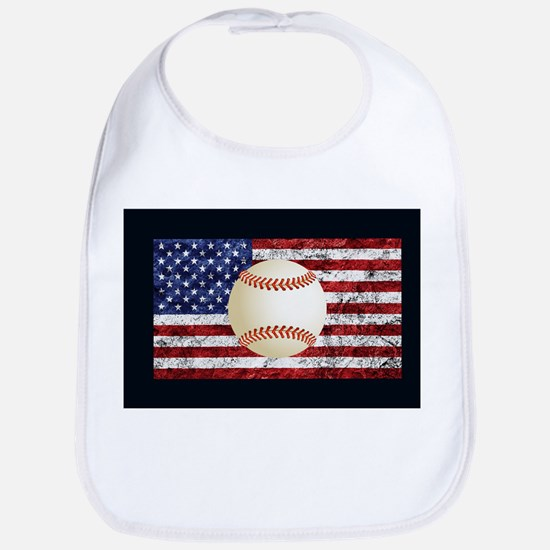 Baseball Ball On American Flag Bib