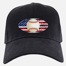 Baseball Ball On American Flag Baseball Hat