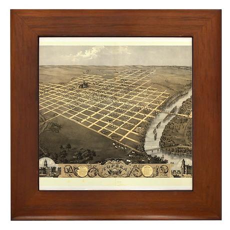 Topeka, capital of KS, 1869 Framed Tile