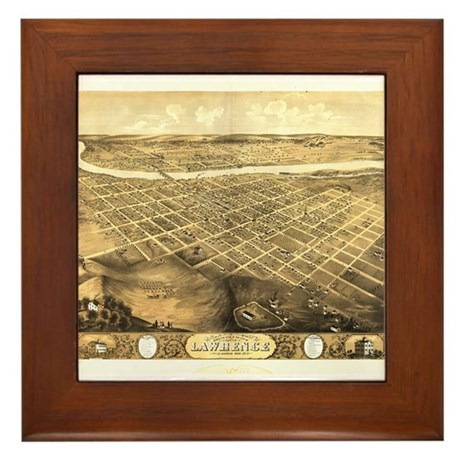 Lawrence, Kansas 1869 Framed Tile